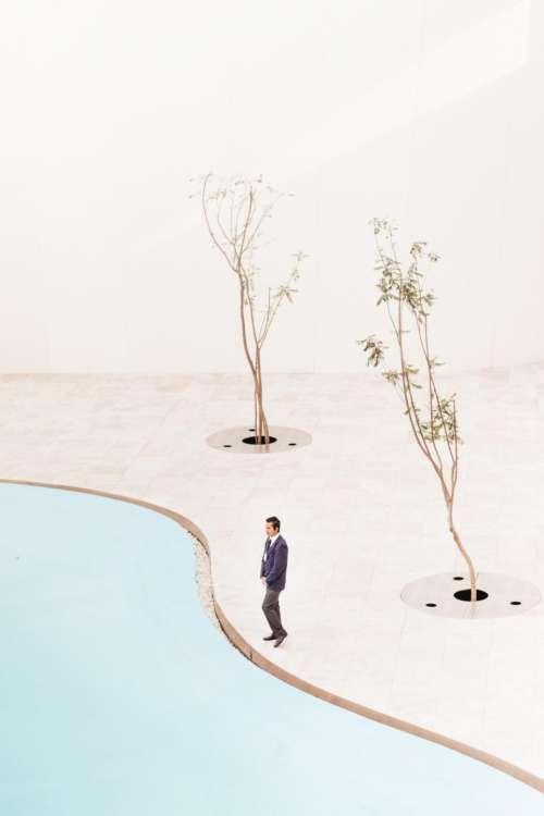 people man standing alone tree