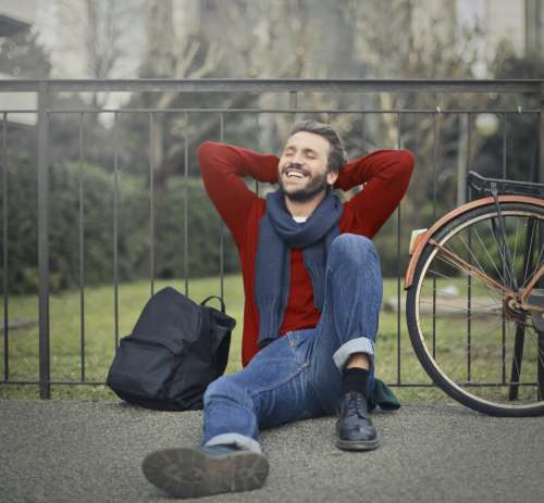 relaxed man smile happy relax