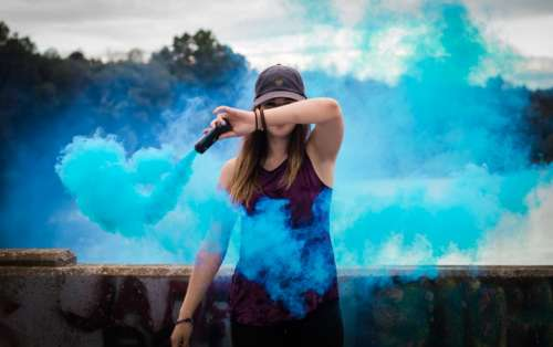 outside blue smoke people woman