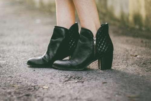 black leather shoe footwear boots