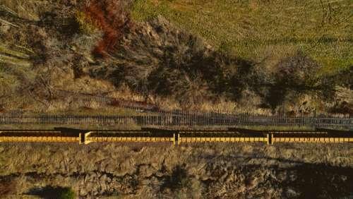 aerial train tracks rural landscape