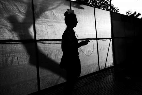 dark black and white silhouette people woman