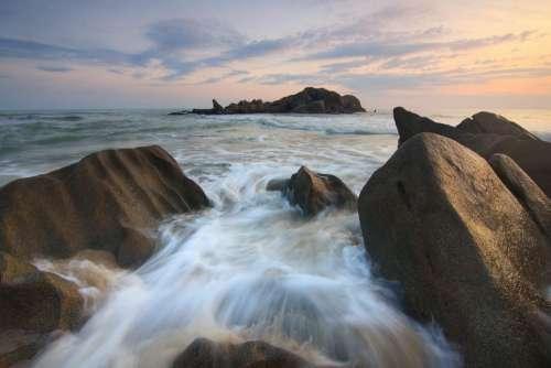rocks sea water coast nature