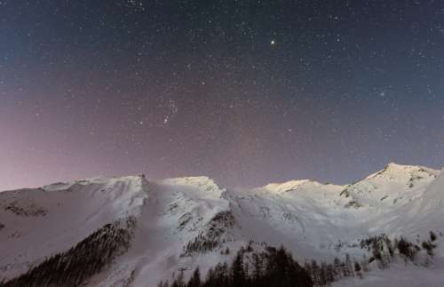 sky stars night mountains winter
