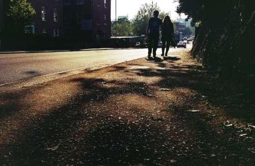 street people couple road silhouette