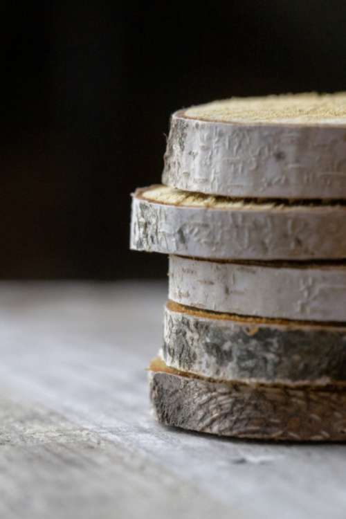 stacked wood slices rustic country
