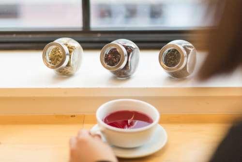 red tea leaves cup jar drink