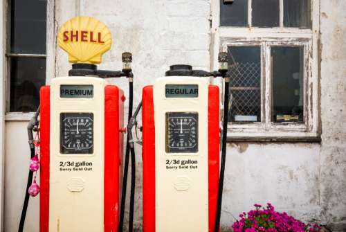 vintage shell pump oil gas