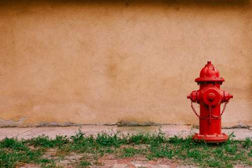 fire hydrant wall concrete grass outdoors