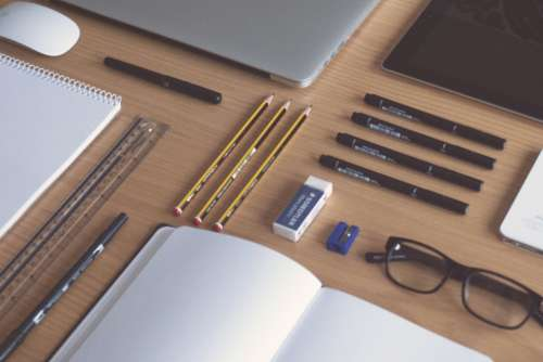 desk office flat lay tools writing