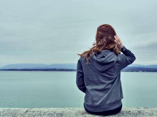 girl woman looking brunette long hair