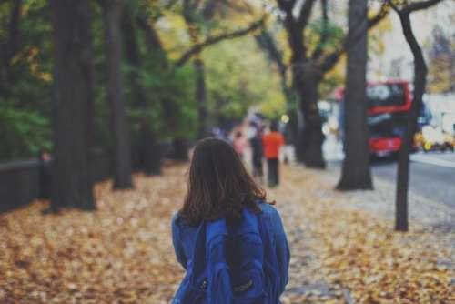 girl woman walking pedestrian city