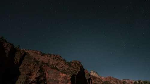 mountain highland landscape sky stars
