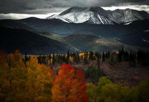 dark sky clouds mountain valley