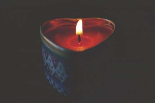 heart shape candle light fire