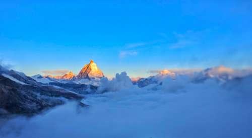 Matterhorn clouds sky nature view