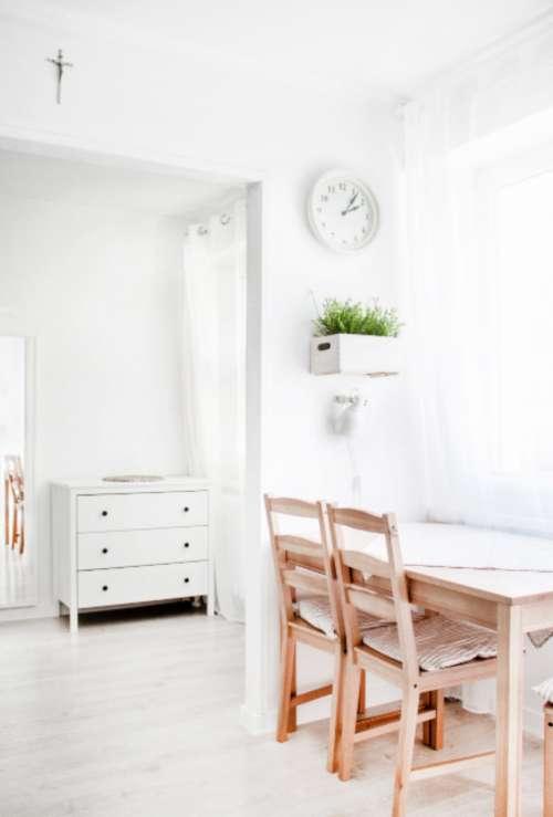 office minimal white chair desk