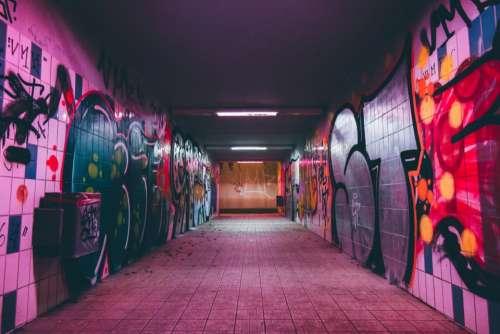 tunnel dark night road light