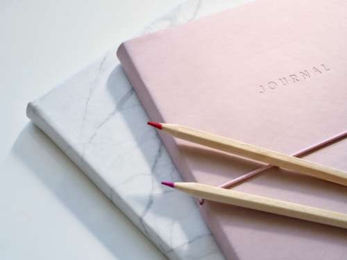 journal notepad pencils color red