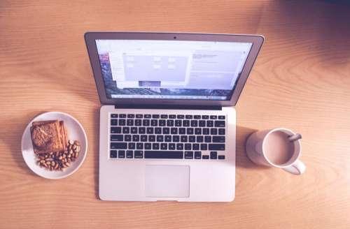 office work desk table laptop