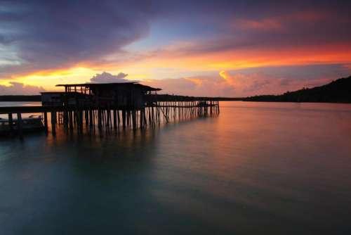 sea water ocean sunset cloud