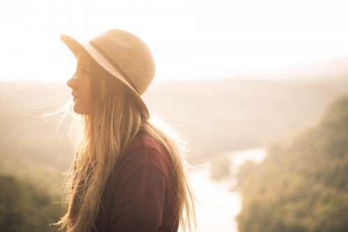 people girl alone cap hat