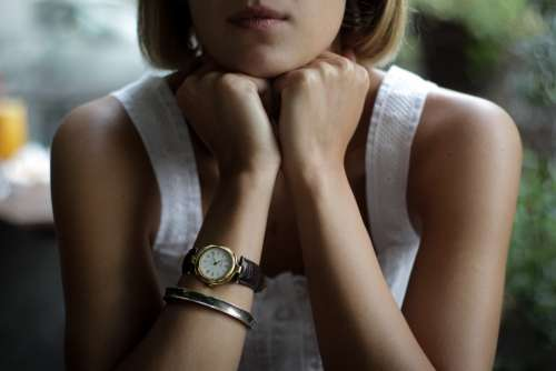 blonde woman wristwatch beautiful lady