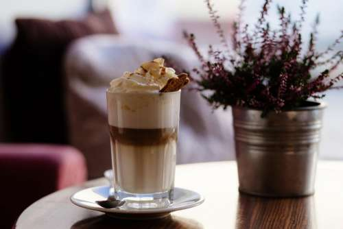 cappuccino drink cream cold flower