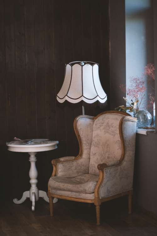 vintage chair lamp table room