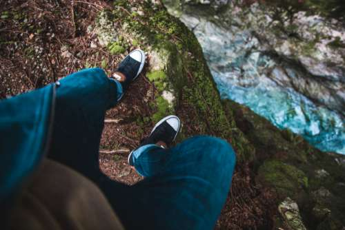 shoes steep cliff nature hiking
