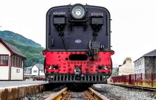 train track railway steel houses