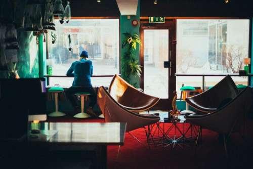 restaurant window glass chair table