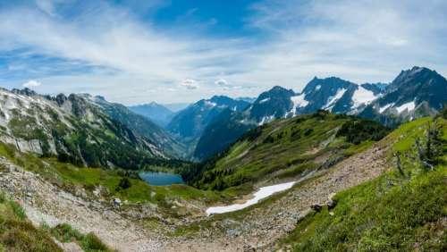 mountain snow valley highland winter