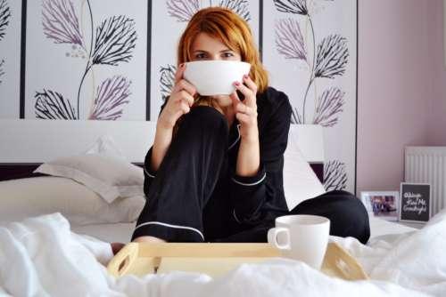 woman breakfast bed food people
