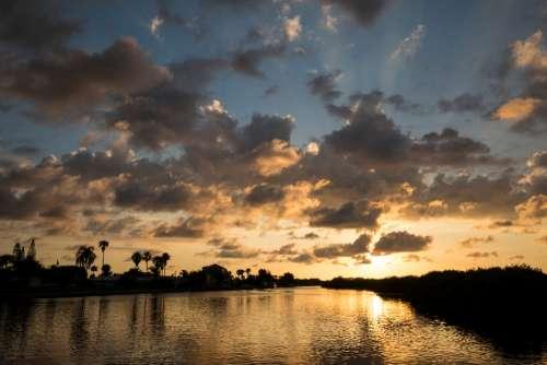 sunset clouds sky florida sun