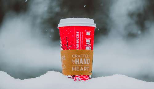 starbucks coffee warm winter snow
