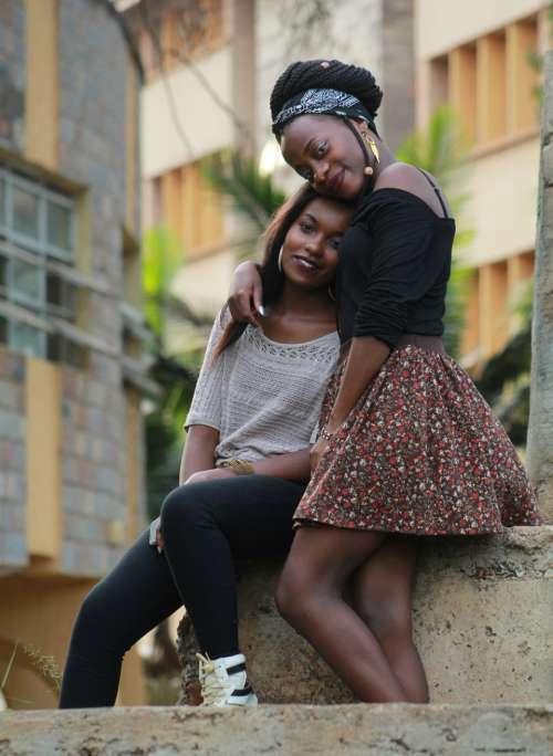 female friends hug women people