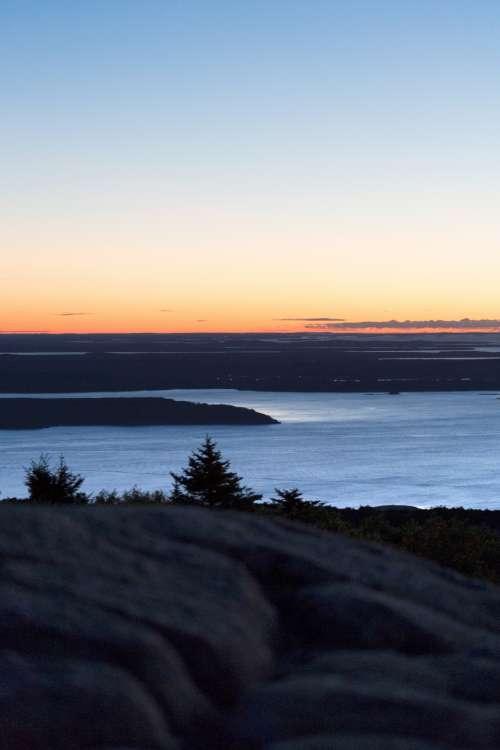 mountain ocean sunrise scenic view