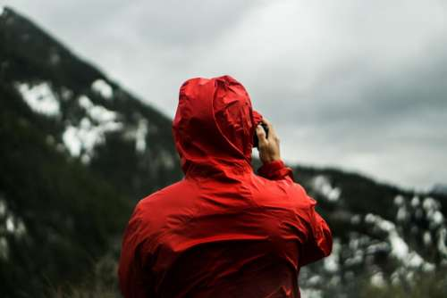 people man red raincoat outdoor