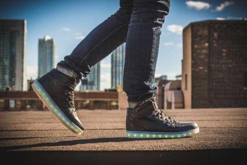 sneakers lights urban street walk