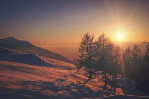 sunset sun mountain nature landscape