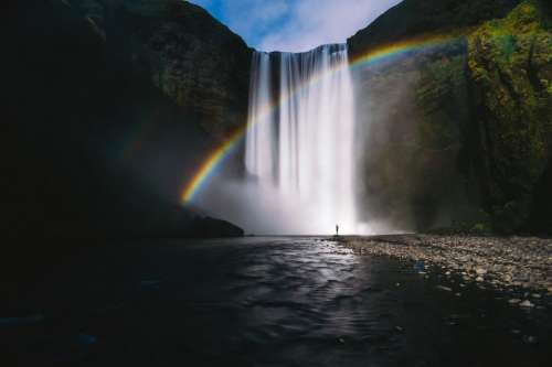 mountain landscape highland nature waterfalls
