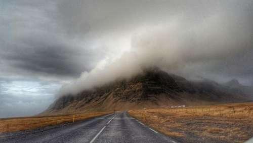 fog mountain hills road lane