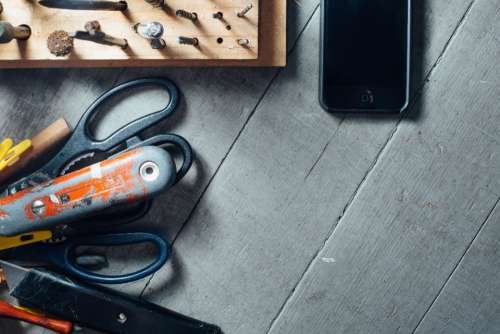 workshop iphone tools scissors desk