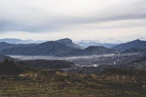 nature landscape summit peaks grasslands