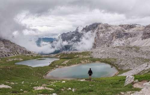 dolomites hiker landscape rock girl