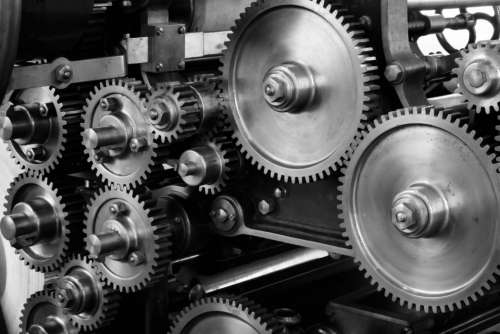 industrial machine gears metal cogs