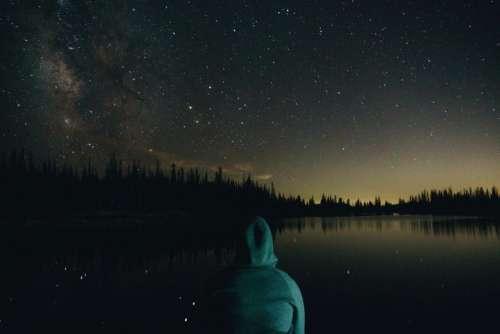 dark night sky stars lake