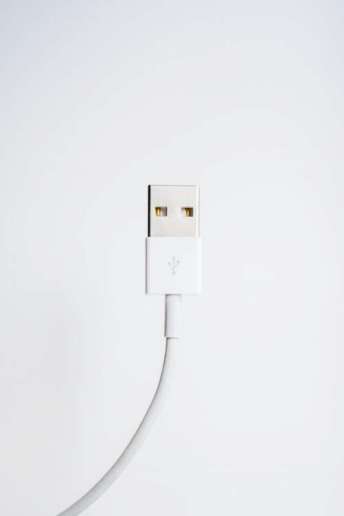 usb cord white wall technology