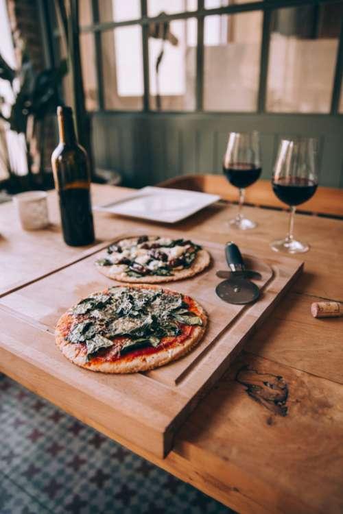 pizza wine dinner home homemade